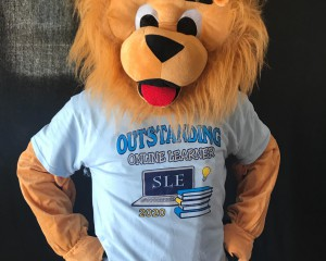 Toney, the mascot, wearing his Student Recognition T-shirt