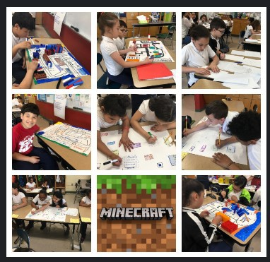 Third grade students at the Wetherbee work on their Minecraft villages.