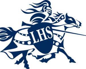 LHS written on a blue shield held by Lancer