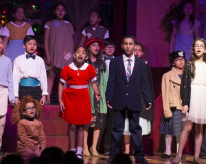 Annie Jr cast on stage