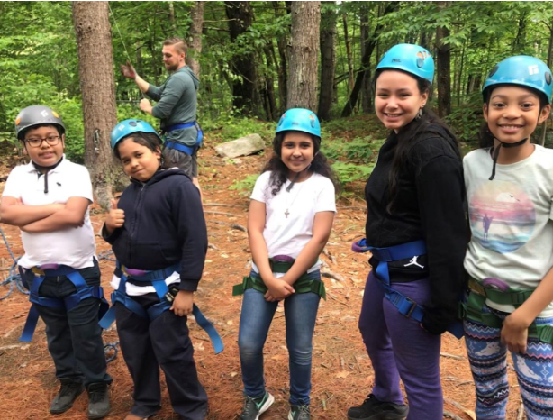 Wetherbee fourth graders Marvin, Hector, Juliet, Senializ, and Jeizabelle at Camp Otter