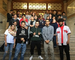 Acceleration Academy students posing at building entrance