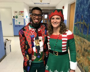 teachers posing in Christmas outfits