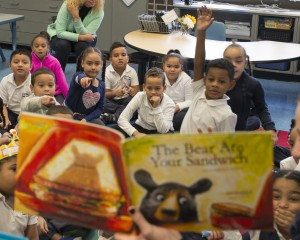 "Students pointing while reading ""The Bear ate Your Sandwich"""