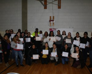 group photo of Hennessey parents holding their certificates