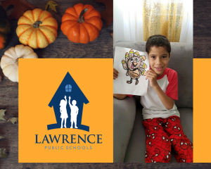 graphic of student holding turkey drawing and the lps logo