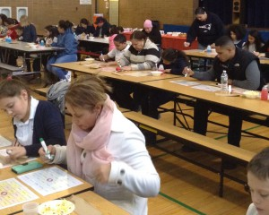 Families enjoying bingo night