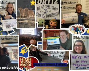 collage of images of teachers holdings up signs