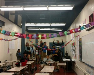 Students with Thanksgiving Chain