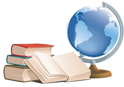 Clipart of Globe and Piles of Books